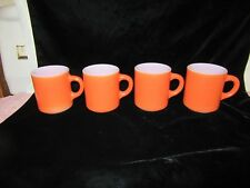 4 Vintage Bright Orange Milk Glass Cups / Mugs