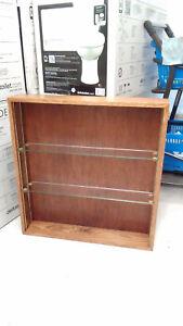 "Handmade Oak Wall Storage Unit Display Cabinet 2 Adjustable Glass Shelves 25""x4"""
