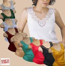 Damen Tank Top Baumwolle-Hemd T-Shirt Top mit Spitze Unterwäsche 100% Baumwolle