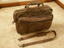 """Genuine Leather Brown Messenger Laptop Bag Tote Carry On Duffel. """"Ideal"""" Zippers"""
