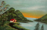 Vintage impressionist landscape lake oil painting