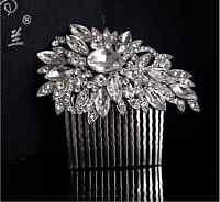Bridal Wedding Crystal Rhinestone Flower Hair Clip Comb Pin Headpiece Diamante