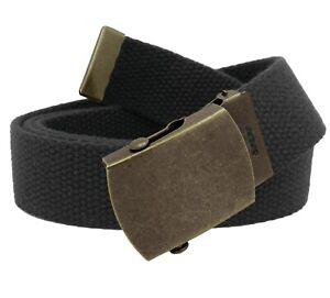 Men's Antique Gold Slider Military Belt Buckle with Canvas Web Belt