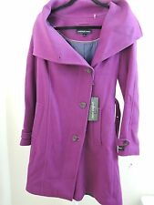 Andrew Marc Italian Virgin Wool Lined Lavender Belted Dress Coat Size - 8