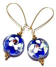 Long Gold Blue White Earrings Drop Dangle Lampwork Glass Beads Pierced Hooks