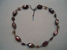 Sterling Silver 925 VITRAUX ALEJANDRA Agate Gemstone Bead Crystal Necklace
