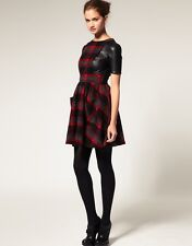 Asos Check Dress With Leather T-shirt Size US6