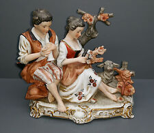 Richard Ginori Figur - Flötenspieler mit Dame und Lamm