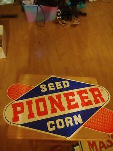 Pioneer Seed Corn Vintage Porcelain Sign 2ft X 15inc.
