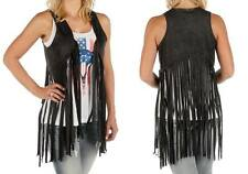Womens Liberty Wear Black Faux Suede Vest - Made in USA ! NWT Large/XL