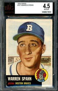 Topps Baseball 1953 - #147 - Warren Spahn - Braves - BVG 4.5 - VG-EX 500271