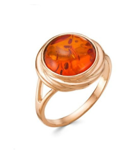 Real baltic Amber 14k Rose Gold Filled Large Round Classic Ring  7 N Russian
