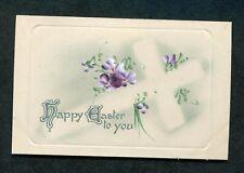 c1920s Illustrated Easter Greetings Card: Cross & Flowers