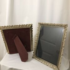 Vintage Pair Of Picture Frames 10 X 13 Metal Ornate Easel Photo Frames