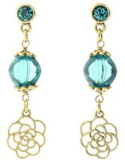 £25 Gold Turquoise Blue Rose Flower Drop Earrings Swarovski Elements Crystal