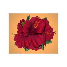 Hawaiian Luau Party Silk Red Triple Hibiscus Flower Ladies Hair Clip