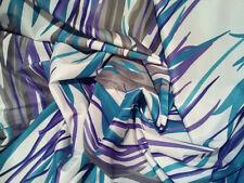 "White/Turquoise/Purple Print Stretch Taffeta Fabric 58"" W BTY"