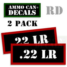 22 LR Ammo Ammo Decal Sticker bullet ARMY Gun Can Box safety Hunting 2 pack RD