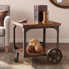 Vintage End Table Industrial Rustic Cart Wheeled Black Wood & Metal Living Room