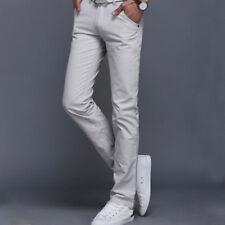 Men's Slim Fit Straight Leg Jeans Trousers Solid Casual Pencil Business Pants
