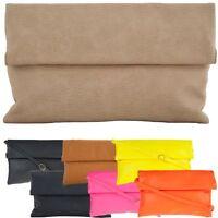 Ladies Designer Soft Faux Leather Envelope Clutch Bag Evening Handbag K89772