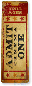 Admit One Movie Ticket Sign, Carnival Cinema Home Movie Theater Tin Sign C780