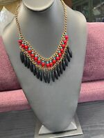Turquoise Black And Red Bohemian Stone Beaded Bib Dangle Statement Necklace 18""