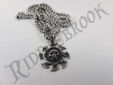 Stainless Steel Skull ninja star Pendant and necklace 60cm chain throwing knife