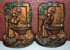 Vintage 1920'S Painted Cast Iron Maiden At The Fountain Bookends ~Ss2~