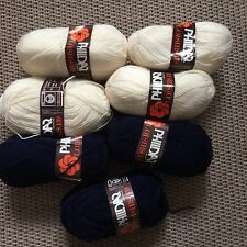 7 Pelotes de laine Phildar Loisir 139 Crème / Bleu Marine