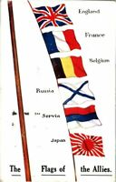 The Flags Of The Allies antique postcard military WW1 England France Belgium
