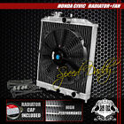 "FULL ALUMINUM 2-ROW/CORE RADIATOR+12"" BLACK COOLING FAN CIVIC/DEL SOL/INTEGRA DC"