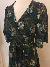 ZARA Green Print Wrap Midi Dress, Kimono Style, Flared Sleeves, Tie Belt L 12 14