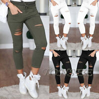 Women Denim Skinny Ripped Pants High Waist Stretch Jeans Slim Pencil Trousers