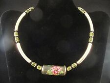 Jade Look Asian Beads Necklace Painted Yellow Pink Flower Floral Choker Japan