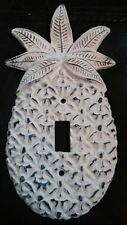 Unique 3D WHITE DISTRESSED CAST IRON PINEAPPLE Single Toggle Switchplate * 2 Avl