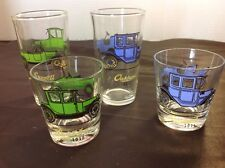 4 Vintage Drinking Glasses Antique Cars Studebaker Maxwell Buick Oakland