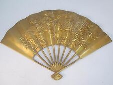 Vintage Brass Fan Wall Decoration Chinese Dragon/ Phoenix. Wall/Table. Good Luck