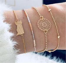 Trendy Women 4Pcs Cat Beads Hollow Lotus Adjustable Open Bangle Bracelet Jewelry