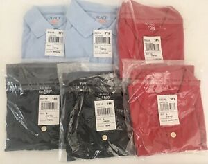 Six Childrens Place Boys Polo shirts Size 10/12 (L) 2 Red, 2 Tidal Blue, 2 Brook