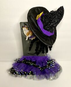 Cat Halloween Costume Witch Hat & Sparkly Skirt Kitty Size Small NEW!