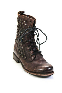 The Frye Company Womens Cracked Leather Studded Combat Boots Brown Size 7.5