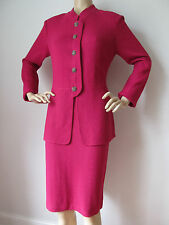 NEW ST JOHN KNIT SZ 10 WOMENS SKIRT SUIT RASPBERRY SOLID TWEED KNIT WOOL RAYON