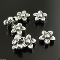 Antique Silver Tone Flower Shape Beads Jewelry Crafts 8*8*4mm