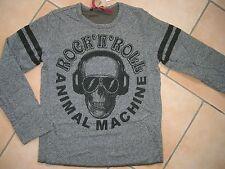 (399) Gefüttertes RARE-The Kid Boys Shirt Totenkopf & Rock and Roll Druck gr.128