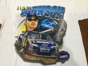Rare Vintage NASCAR Jumbo Print Shirt Jimmie Johnson Lowe's NOS Large Dead Stock