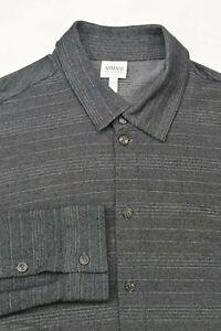 * Armani Collezioni * Gray & Black Striped Viscose Blend Dress Shirt 18 x 40 XXL