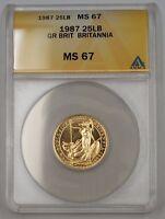 1987 Great Britain One Sovereign Gold Coin Britannia ANACS MS-67