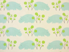 HIPPO HIPPOPOTAMUS ANIMAL PRINT BLUE AQUA 100% COTTON CURTAIN CRAFT FABRIC A57