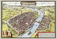 MAP 16TH CENTURY BRAUN HOGENBERG FRANKFURT AERIAL REPLICA POSTER PRINT PAM0175